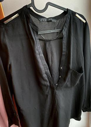 Блузка чёрная рубашка zara