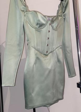Атласна сукня з пишним рукавом oh polly