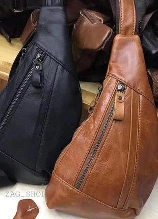 Кожаная мужская сумка слинг нагрудная сумка бананка коричневая чоловіча сумка натуральна шкіра