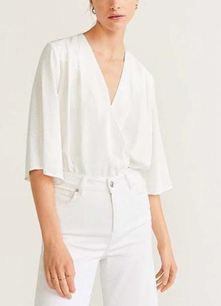 Боди mango белая блуза на запах блуза свободная