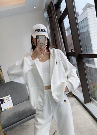 Трикотажный костюм штаны кофта худи спортивный оверсайз на резинке с капюшоном