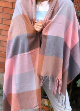 Кашемировый шарф палантин кемел серый пудра