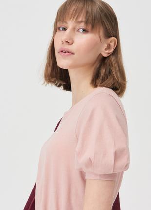 Новая однотонная пудровая розовая футболка пудра блузка объемные рукава xs s m