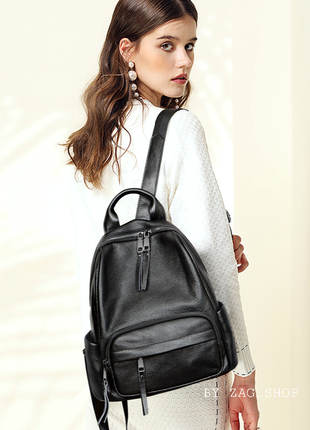 Top🖤женский кожаный городской рюкзак чёрный жіночий рюкзак натуральна шкіра