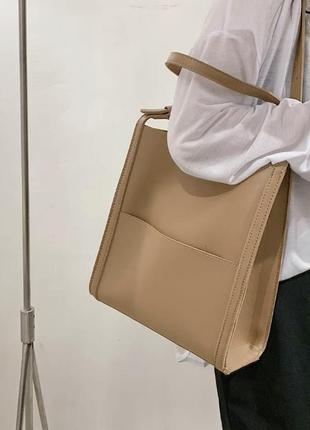 Новая женская кожаная песочная вместительная сумка шоппер