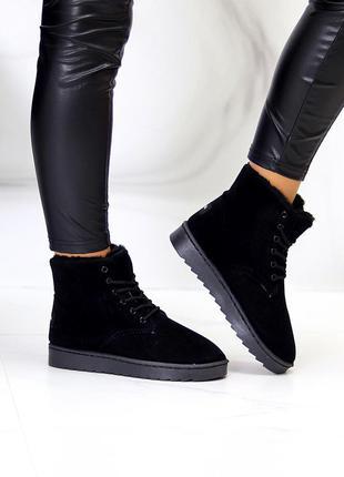 "Угги на шнурках ""mizy"" женские черный экозамша экомех уггі на шнурках жіночі чорний екозамша екомех"