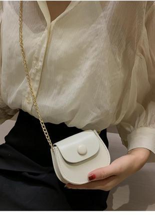 Новая женская кожаная мини сумка с золотой цепочкой
