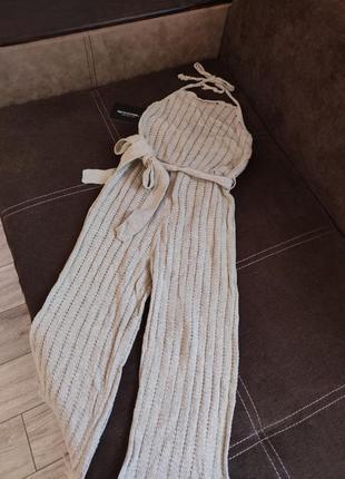 Новый вязанный комбинезон от prettylittlething, брючный комбез, тёплый ромпер (бирка!)