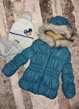 Теплая зимняя куртка шапка бемби