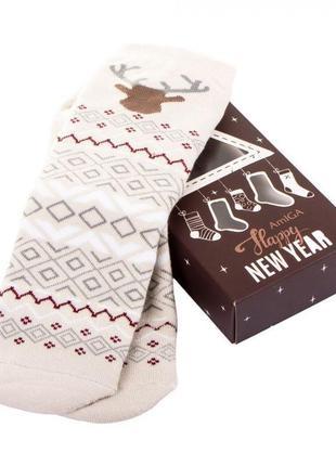 Теплые носки с открыткой в подарочной упаковке коробке махровые носочки с узором оленями тёплые зимние женские жiночi шкарпетки на подарок