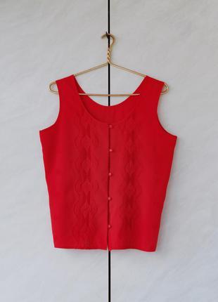 (уценка) красная блуза рубашка топ вышивка бохо рустикальный стиль
