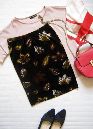 Бархатная / велюровая обтягивающая юбка с осенним рисунком