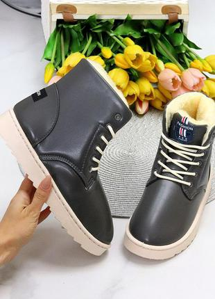 Модные женские темно серые зимние ботинки угги на шнуровке зима 2021 11651