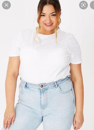 Белая женская футболка размер 50 //  5xl хлопок