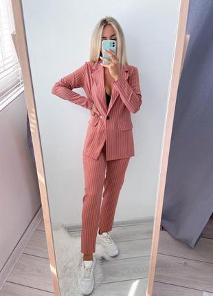 Брючный костюм женский деми в полоску повседневный штаны и пиджак фрез