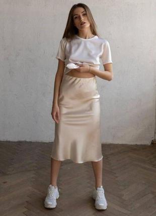 🔥 шелковая длинная юбка миди классическая черная, бежевая