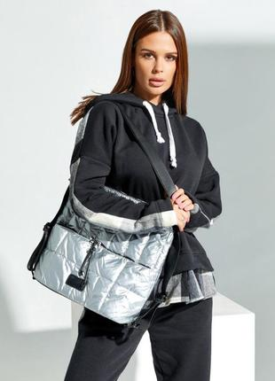 Серая стеганая сумка-рюкзак из плащевки