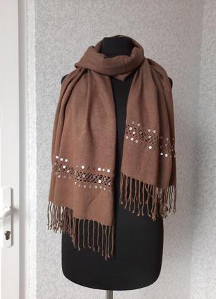 Женский шарф палантин с паетками.