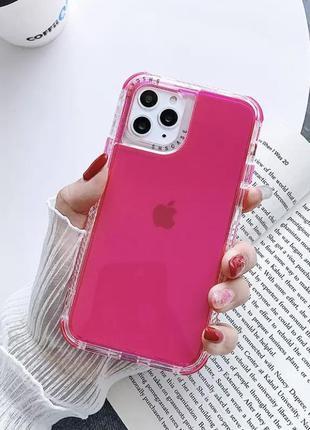 Розовый малиновый прозрачный силиконовый противоударный чехол на айфон iphone 12 11 pro max xr xs
