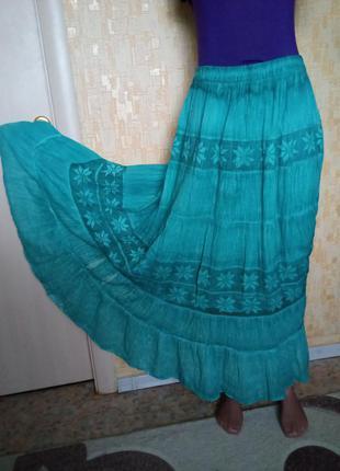 Мятная длинная юбка/юбка/платье/сарафан/джинсы/длинная юбка/куртка/шуба/пуховик
