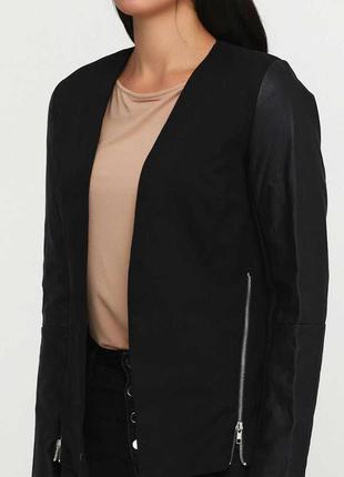 Пиджак жакет кардиган с кожаными рукавами черный esmara