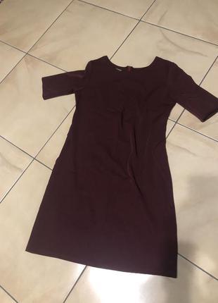 Бордовое мини платье