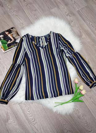 Женская блуза блузка в полоску с долинным рукавом деловая