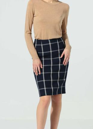 Hobbs теплая юбка спідниця мини юбочка міні шерстяная прямая в клетку клеточка