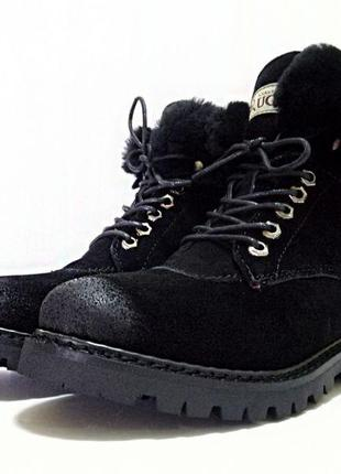 Угги зимние женские ugg australia ботинки черные с натуральным мехом 36-41
