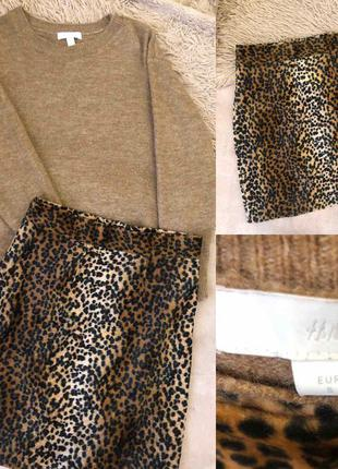 Свитер h&m и леопардовая юбка размер s-m