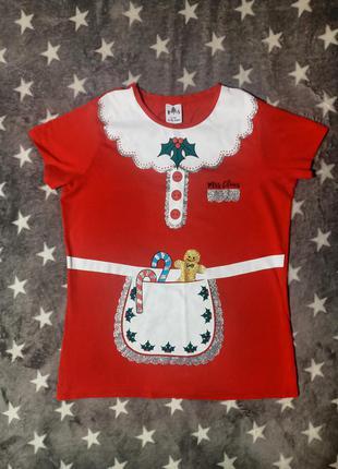 Футболка george р.м/46, новогодняя футболка, красная футболка с принтом