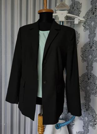 Брендовый базовый стильный трендовый длинный черный вискозный модный однобортный топовый оверсайз пиджак esprit l xl m