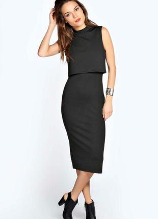 Boohoo платье чёрное двойное миди новое по фигуре карандаш футляр классическое