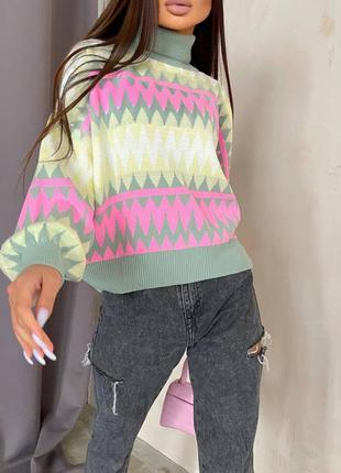 Вязаный теплый гольфи кофта свитер женский