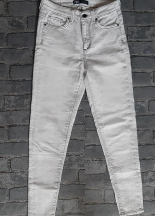 Супер джинсы брюки штаны zara высокая посадка