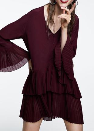 Zara зара платье бордо бордовое винное марсала вишневое бургунди плиссе плиссированное оверсайз