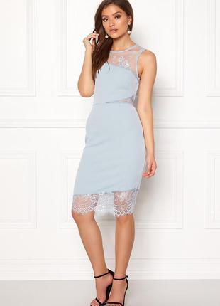 New look платье голубое с гипюром миди по фигуре карандаш футляр классическое с вырезами