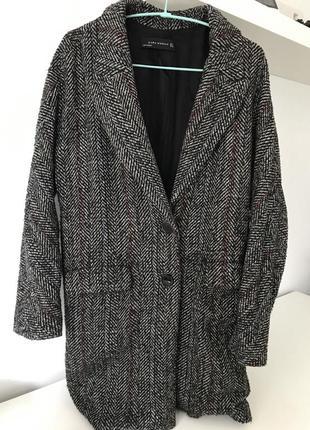 Серое пальто, жакет zara, принт елочка, очень актуальное