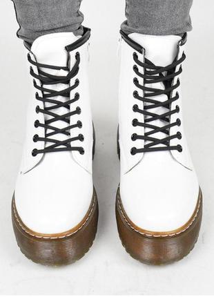 Стильные белые женские ботинки / плотный материал / 36-41 размер.