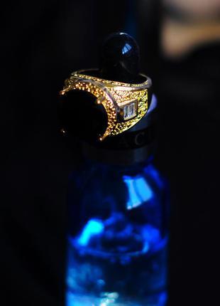 Роскошный королевский арабский царский перстень мужской женский под золото с огромным черным камнем