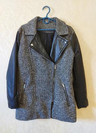 Пальто с вставками из эко-кожи