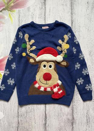 Крутой новогодний свитер кофта нос светится олень george 9-10лет