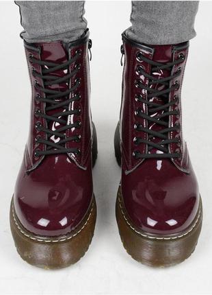 Бордовые женские батальоны / натуральный материал / удобные / 36-41 размер