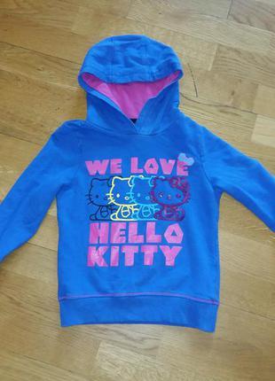 Стильная яркая толстовка худи hello kitty 5-6 лет