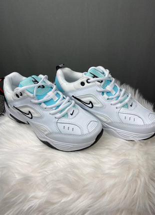 Женские белые кроссовки nike m2k tekno white /light blue