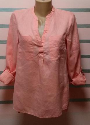 Льняная свободная блуза f&f