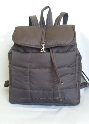 Рюкзак дутик тканевый на синтепоне демисезонный серый с клапаном на шнуре