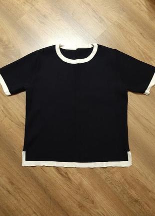 Футболка,  свитер, свитшот, на размер s , zara, бирки срезала,  ткань плотная, цвет темно синий