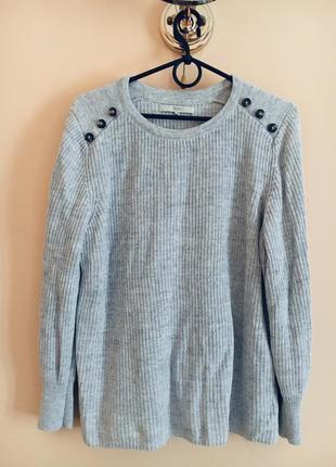 Батал большой размер стильный серый свитер свитерок джемпер джемперок кофта натуральный