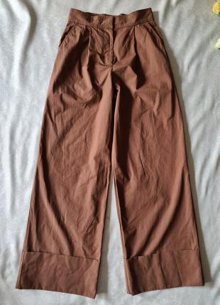 Женские бежевые коричневые брюки кюлоты  cos с защипами